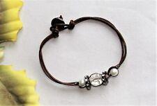 Cool! Silvertone Leather Crystal Rhinestone & Faux Pearl Beads Bracelet NEW!