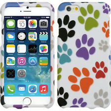 For iPhone 6 / 6S - HARD SKIN CASE COVER COLORFUL PURPLE GREEN DOG PAWS