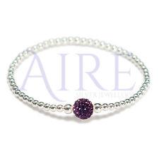 925 Sterling Silver - 3mm Ball bracelet with Purple Shamballa Bead (Stretch)