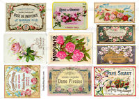 Furniture Decal Image Transfer Vintage Shabby Chic Rose Labels Antique Adverts