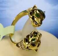 Cote D'argent RING Sterling Silver 925 yellow gold Sz 7 Panther emerald eye puma