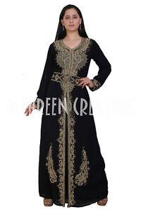 Muslim Women Black Abaya Kaftan Jilbab Islamic Arab Maxi Robe Rhinestone Dress