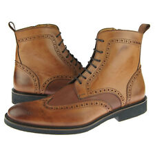 "Alex D ""Portland"" Men's Dress-Casual Wingtip Leather Boot, Cognac"