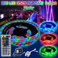 New 3528 5M 300 LED RGB SMD Strip Light with 12V Adapter 44Key Remote Control UK