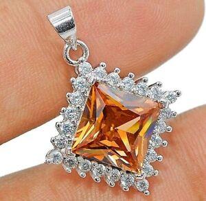 SALE! 4CT Padparadscha Sapphire & Topaz 925 Sterling Silver Pendant Jewelry, V7