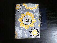 Grey w/ Yellow, Black, Grey Flowers Fabric Passport Cover / Holder, Handmade