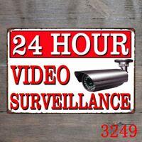 Metal Tin Sign 24 hour video surveillance Decor Bar Pub Home Vintage Poster