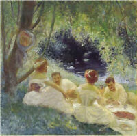 """stunning  oil painting handpainted on canvas """" Outdoor picnic """""""