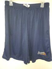 0724-3 Mens Majestic ATLANTA BRAVES Jersey Polyester SHORTS W/Pockets Navy New