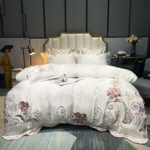 4pcs Bedding Set Luxury Cotton Embroidery Duvet cover bed skirt 2 pillowcases