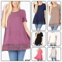 Women's Short Sleeve Top Blouse Lace Trim Loose Fit  Casual Shirt(S-XL)