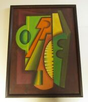 LARGE CHICAGO ABSTRACT PAINTING MODERNIST CUBIST CUBIST VINTAGE EXPRESSIONISM