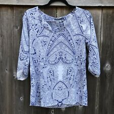 Alloy Apparel Blue And White Patterned Blouse - Medium - Lightweight, 3/4 Sleeve