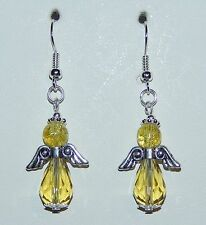Sparkling Lemon Yellow Crystal Christmas Angel Earrings - NEW