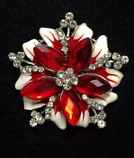 Rhinestone Ruby-Color Red Crystal Brooch Pin Christmas Flower Scarf Decoration51