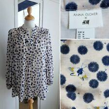 H&M ANNA GLOVER Top Spotty Moth M 12 14 Oversized Blouse Pale pink Blue Dot