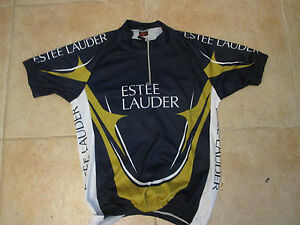 MOOZES X ESTEE LAUDER CYCLING MEDIUM POLYESTER JERSEY MADE IN ITALY BLUE/GOLD/WH