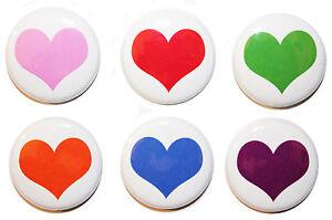6 OR 12 Mini Love Heart Fridge Magnets MADE IN UK - Gift & Kitchen - 25mm