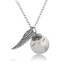 Fashion Wing Glass Ball Dandelion Seeds Pendant Necklace Women Men Charm Jewelry