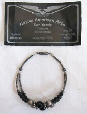 Ron Yazzie Sterling Silver Beaded Bracelet North American Art Navajo Silversmith