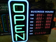 """GREEN LIGHT 18"""" X 18"""" DIGITAL BUSINESS HOURS OPEN SIGN PROGRAMMABLE REMOTE COLOR"""