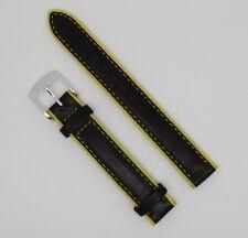 bracelet montre cuir vachette vintage - 14mm noir jaune