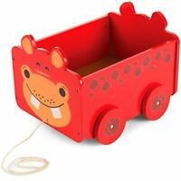 Kids Wooden Pull Along Toy Box (Hippo Design) Great Wooden Toy Gift for Children