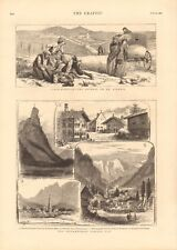 1880 ANTIQUE PRINT - THE OBERAMMERGAU PASSION PLAY