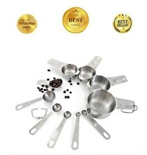 All Stainless Steel Standard Size 10 Piece Chef Measuring Cup & Spoon Set