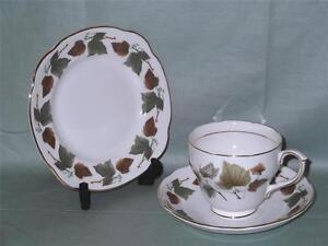 Duchess Bone China Trio Tea Cup Saucer & Plate  Patt. 970 Green & Brown Leaves