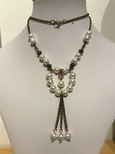 "Antique Brass Plated Chain and White Shell Pearl 24"" Necklace"