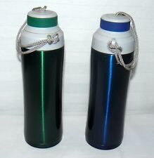 NO NAME BRAND 16 OZ STAINLESS STEEL PAIR SET OF 2 WATER BOTTLES GREEN & BLUE