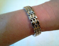 Bracelet 8 Inches Long With Clip Closure Mens 2 Tone Silver And Gold Steel