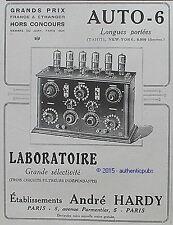 PUBLICITE ANDRE HARDY AUTO 6 RADIO LIAISON TAHITI NEW YORK DE 1926 FRENCH AD PUB