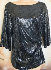 WALLIS M 12/14 BNWT Black Silver Sequin Knot Front Longline Party Tunic Top