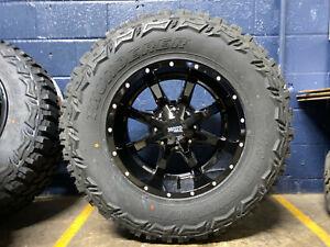 "18x10 Black Moto Metal MO970 35"" MT Wheels Rims Tires 6x5.5 Chevy Silverado 1500"