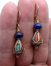 Handmade Nepal Beads W. Blue Lapis Lazuli  Gold Earrings  A1225