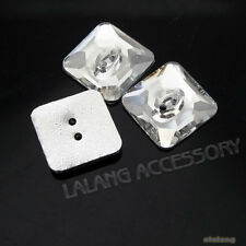 75x New Square Resin Crystal SEW-ON Transparent Beads Fit Jewelry Making Lots D