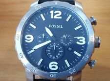 Mens Black Leather Analog Fossil Nate JR1436 XL Military Style Chrono Watch