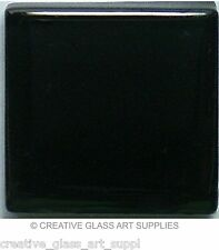 50 ct - 3/8 inch Jet Black Glass Mosaic Tiles