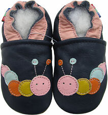 carozoo caterpillar dark blue outdoor 12-18m soft rubber sole leather baby shoes
