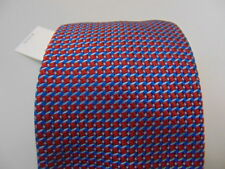 NWT SAKS FIFTH AVENUE MENS GEOMETRIC TIE RED BLUE 58 X 3.25 NEW RET $128