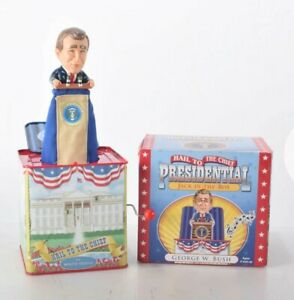 GEORGE W BUSH JACK IN THE BOX. PLAYS HAIL TO THE CHIEF. 2001.NEW. FREE SHIPPING!