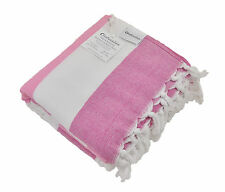 Terry Cloth Turkish Towel, Pink and White Striped Peshtemal Beach & Bath Towel