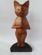 Hand Carved Yoga Cat Ornament - Standing