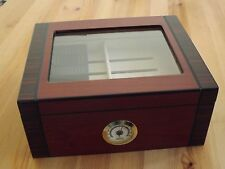 Two Tone Rosewood Finish Spanish Cedar Glass Top 50 Cigar Humidor With Tray