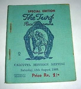 ' The Turf ' Horse Racing Programme -- Calcutta India -- 1960.