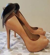 ALDO Ladies Light Tan Leather Peep Toe Platform Shoes with Bow Detail Size UK 5