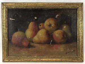 Antique 19th C Still Life Pears Fruit Oil Painting Signed – For Restoration
