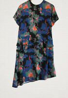 Lost Ink Floral Peplum Dress Size 16 Tie Back Neck Vintage Style Smart Work